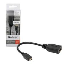 Кабель-переходник HDMI-micro HDMI, 14,5 см, DEFENDER, F-M, для передачи цифрового аудио-видео, 87301