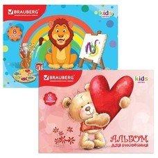 """Альбом для рисования, 8 л., BRAUBERG, детская серия, обложка мелованный картон, """"Любимые игрушки"""", 2 вида, 103430"""