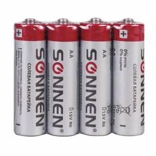 Батарейки SONNEN, AA (R6), комплект 4 шт., солевые, в спайке, 1,5 В, 451097