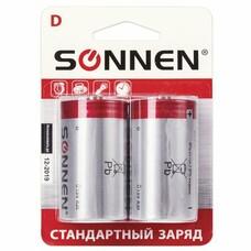 Батарейки SONNEN, D (R20), комплект 2 шт., солевые, в блистере, 1,5 В, 451100
