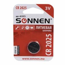 Батарейка SONNEN, CR2025 (таблетка), d=20 мм, h=2,5 мм, ЛИТИЕВАЯ, 1 шт., в блистере, 3 В, 451973