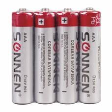 Батарейки SONNEN, AAA (R03), комплект 4 шт., солевые, в спайке, 1,5 В, 451098