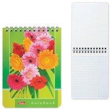 """Блокнот А6, 40 л., гребень, лакированная обложка, HATBER, """"Цветы"""", 110х145 мм, 40Б6B1гр, В12321"""