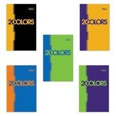 """Блокнот А7, 48 л., склейка, 3-х цветный блок, HATBER, """"2COLORS"""", 65х100 мм, 48Б7В1к, B197547"""
