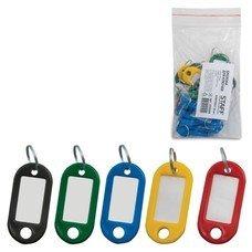 Брелоки для ключей STAFF, комплект 20 шт., длина 48 мм, инфо-окно 28х15 мм, ассорти, 235589