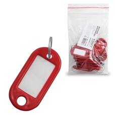 Брелоки для ключей STAFF, комплект 20 шт., длина 48 мм, инфо-окно 28х15 мм, красные, 235588