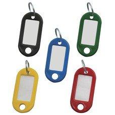 Брелоки для ключей STAFF, комплект 100 шт., длина 48 мм, инфо-окно 28х15 мм, ассорти, 235590
