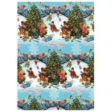 """Бумага упаковочная подарочная """"Новогодние гуляния"""", 100х70 см, в рулонах, мелованная, 80 г/м2, 75185"""