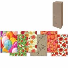 Бумага упаковочная подарочная, в рулонах, глянцевая, 2 листа, 0,7х1 м, рисунок ассорти (женский)