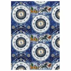 """Бумага упаковочная подарочная """"Новогодние часы"""", 100х70 см, в рулонах, мелованная, 80 г/м2, 75180"""