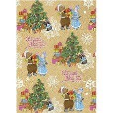 """Крафт-бумага упаковочная подарочная, """"Снегурочка с мишкой"""", 100х70 см, в рулонах, 80 г/м2, 75213"""
