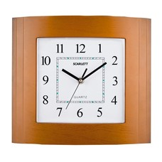 Часы настенные SCARLETT SC-55QP прямоугольник, белые, коричн. рамка, плавный ход, 29,8х26,4х4,5 см, SC - 55QP