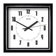 Часы настенные САЛЮТ П-2А6-140, квадрат, белые, черная рамка, 28х28х4 см