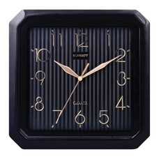 Часы настенные SCARLETT SC-52CB квадратные, черные, черная рамка, плавный ход, 27,8x27,6x3,7 см, SC - 52CB