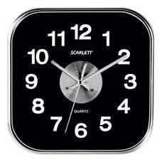 Часы настенные SCARLETT SC-WC1005O квадратные, черные, плавный ход, 25x25x4 см, SC - WC1005O