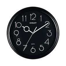 Часы настенные SCARLETT SC-09B круг, черные, черная рамка, 25,5x25,5x4,6 см