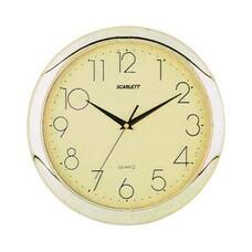 Часы настенные SCARLETT SC-45C круг, желтые, золотистая рамка, 28,8х28,8х3,7 см, SC - 45C