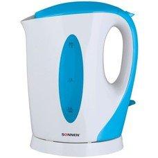 Чайник SONNEN KT-003BL, открытый нагревательный элемент, 1,7 л, 2200 Вт, пластик, белый/синий, 451818