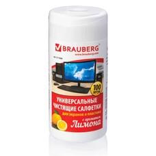 """Чистящие салфетки BRAUBERG для экранов и пластика, универсальные, """"Лимон"""", в тубе 100 шт., влажные, 511688"""