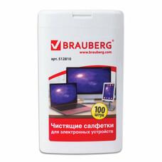 Чистящие салфетки для ноутбуков и оптических поверхностей BRAUBERG комп.туба 100 шт,, 512810