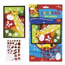 """Набор для творчества """"Гелевая мозаика"""", """"Жираф"""", основа формата А6, цветные прозрачные пластиковые элементы, C2603-08"""