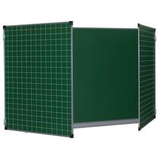 Доска для мела, магнитная BRAUBERG 100*150/300см, 3-х элементная, ДОП. ЛИНИЯ/КЛЕТКА зеленая, 236972, ТЭ-300Мр