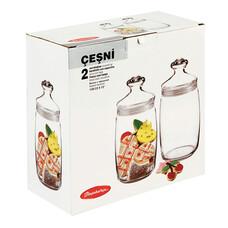 Банки с крышками для сыпучих продуктов, 2шт, объем 1100мл, стекло, Cesni, PASABAHCE 97425