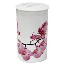 """Контейнер 1л, с крышкой, колба, для сыпучих продуктов, """"Орхидея"""", высота 18 см, диаметр 10 см, белый, IDEA, М 1374"""