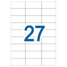 Этикетка самоклеящаяся А4, 27 этикеток 70х31,5 мм, белые, 65 г/м2, 50 л., STAFF, 128834