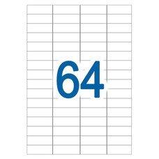 Этикетка самоклеящаяся А4, 64 этикетки 48,5х16,9 мм, белые, 65 г/м2, 50 л., STAFF, 128842