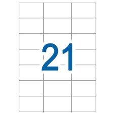 Этикетка самоклеящаяся А4, 21 этикетка 63,8х38,1 мм, белая, 65 г/м2, 50 л., STAFF, 128830