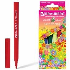 """Фломастеры BRAUBERG """"Blooming flowers"""", 6 цветов, вентилируемый колпачок, картонная упаковка с радужной фольгой, 150559"""