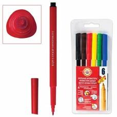 Фломастеры KOH-I-NOOR, 6 цветов, смываемые, трехгранные, пластиковая упаковка, европодвес, 771002JF04TERU
