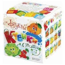 """Кубики-загадки пластиковые """"Овощи и фрукты"""", 8 шт., 4х4х4 см, """"Десятое королевство"""", 00697"""