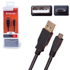 Кабель USB-micro USB 2.0, 1,8 м, DEFENDER, для подключения портативных устройств и периферии, 87442