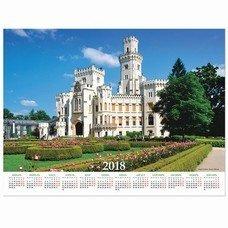 """Календарь А2 на 2018 г., HATBER, 45х60 см, горизонтальный, """"Замок"""", Кл2 12393, K250679"""