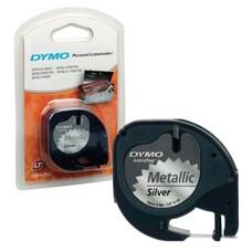 Картридж для принтеров этикеток DYMO Letra Tag, 12 мм х 4 м, лента пластиковая, серебристый металлик, S0721730