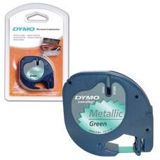 Картридж для принтеров этикеток DYMO LetraTag, 12 мм х 4 м, лента пластиковая, зеленый металлик, S0721740