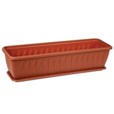 """Кашпо-балконный ящик для цветов 10 л, с поддоном, """"Алиция"""", 16х60х19 см, коричневое, IDEA, М 3215"""