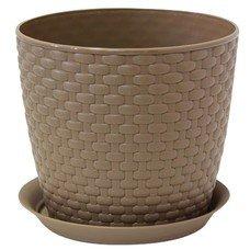 """Кашпо для цветов 3 л, с поддоном, """"Ротанг"""", высота 16 см, диаметр 18 см, коричневое, IDEA, М 3082"""