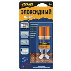 """Клей эпоксидный """"Секунда"""", 6 мл, в шприце, блистер с европодвесом, 403-115"""