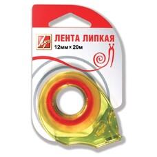 Клейкая лента 12 мм х 20 м канцелярская ЛУЧ прозрачная, в диспенсере, европодвес, 18С 1226-08