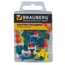 Силовые кнопки-гвоздики BRAUBERG, цветные, 50 шт., в пластиковой коробке, 221117