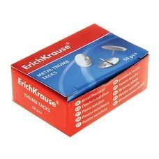 Кнопки канцелярские ERICH KRAUSE металлические, никелированные, 10мм, 50 штук в картонной коробке, 7851