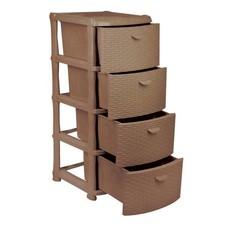 """Комод универсальный 4 секции, габариты в сборе 96х40х50 см, коричневый, """"Ротанг"""", IDEA, М 2812"""