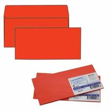 Конверты С65, комплект 5 шт., отрывная полоса STRIP, красные, упаковка с европодвесом, 114х229 мм, 206А.5