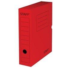 Короб архивный с клапаном, микрогофрокартон, 75 мм, до 700 листов, красный, STAFF, 128861