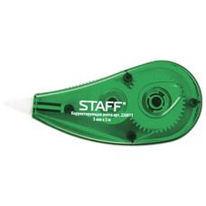 Корректирующая лента STAFF, 5 мм х 5 м, корпус зеленый, блистер