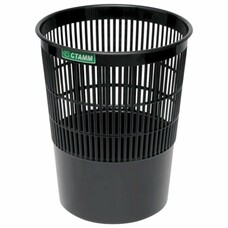 Корзина для бумаг СТАММ сетчатая, 14 л, черная, КР51