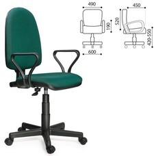 """Кресло оператора """"Престиж"""", регулируемая спинка, с подлокотниками, черно-зеленое"""
